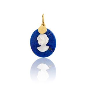 médaille pendentif lapis lazuli camée Mineral Joaillerie