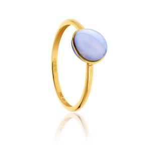 Bague Bestouan calcédoine bleue pierre naturelle or jaune 18 carats recyclé mineral joaillerie femme