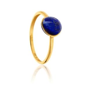 Bague Bestouan lapis lazuli pierre naturelle or jaune 18 carats recyclé mineral joaillerie femme