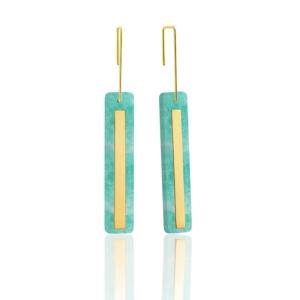 Boucles d'oreilles Miroir amazonite pierre naturelle or jaune 18 carats recyclé femme