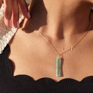 Médaille pendentif or jaune 18 carats recyclé médaille Miroir amazonite or pierre naturelle
