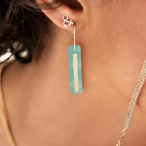 Boucles d'oreilles amazonite pierre naturelle or jaune 18 carats recyclé boucles d'oreilles esperluette diamant pierre naturelle or jaune