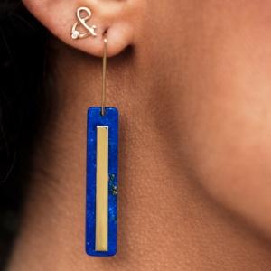 Boucles d'oreilles Miroir lapis lazuli or jaune 18 carats recyclé éthique boucles d'oreilles esperluette diamant or