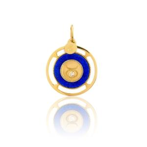 Médaille pendentif zodiac taureau médaille précieuse signe astrologique mineral joaillerie lapis lazuli diamant pierres naturelles or jaune 18 carats recyclé