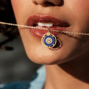 Médaille zodiac lapis lazuli diamant pierres naturelles or jaune 18 carats recyclé