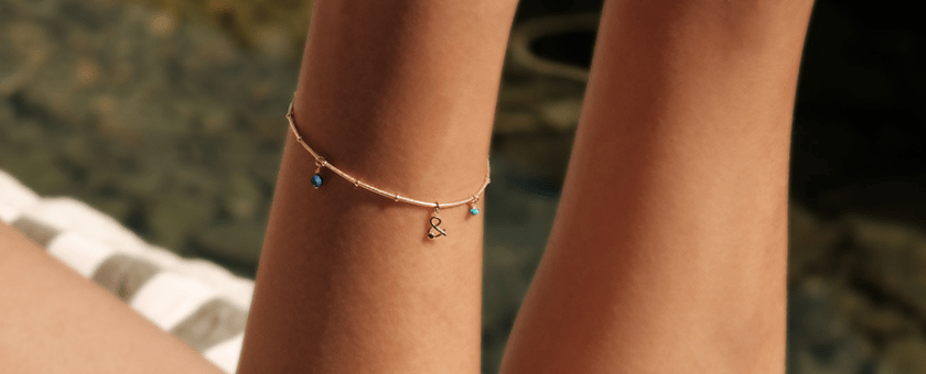 Turquoise lapis lazuli gold plated naide ankle chain woman