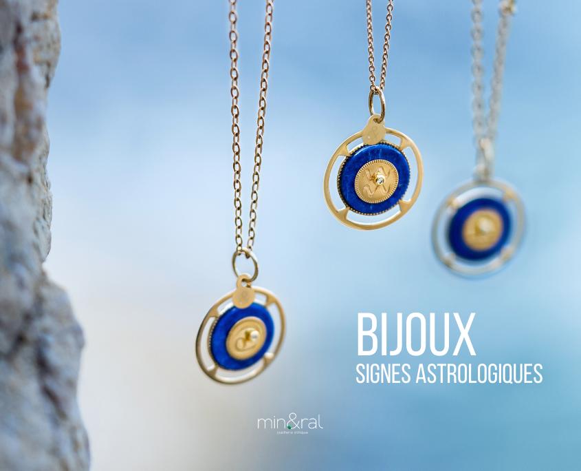 médaille zodiac lapis lazuli mineral joaillerie